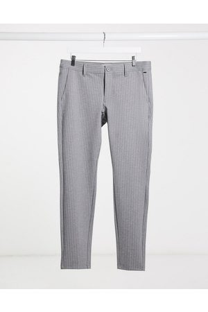 Only & Sons Muži Chino - Stretch smart trouser in grey pinstripe