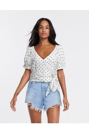 Miss Selfridge Tie side blouse in white spot