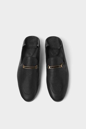 Zara Muži Mokasíny - černé kožené mokasíny s volnou patou