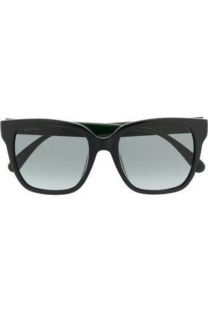 Gucci Eyewear Sluneční brýle - Square-frame Web-stripe sunglasses