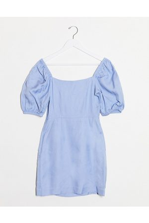 & OTHER STORIES Bold shoulder mini dress in cornflower blue