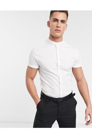 ASOS Stretch skinny shirt in white with grandad collar