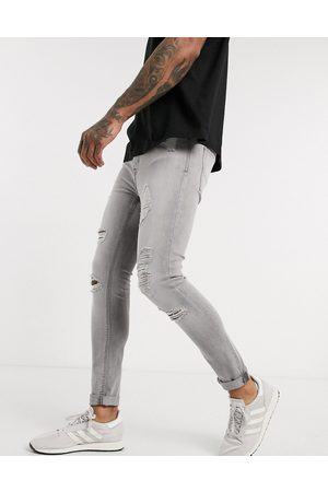 New Look Spray on ripped jeans in grey