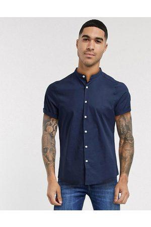 ASOS Muži S krátkým rukávem - Stretch skinny fit shirt in navy with grandad collar