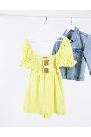 River Island Shirred puff sleeve playsuit in yellow