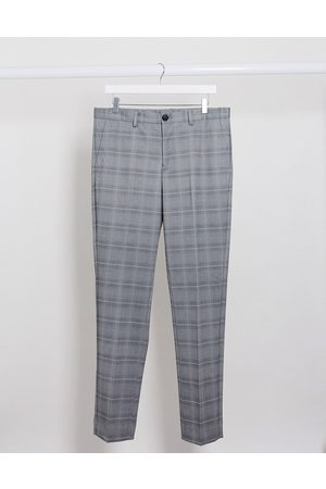 Selected Check trousers in slim fit grey