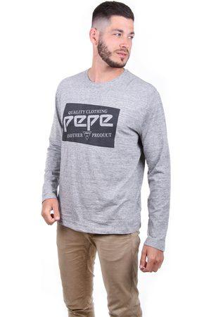 Pepe Jeans Muži S dlouhým rukávem - Pánské šedé melírované tričko Jacob