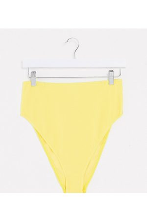 ASOS Curve crinkle high waist bikini bottom in yellow