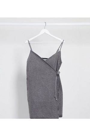 ASOS ASOS DESIGN Tall denim wrap cami dress in washed grey