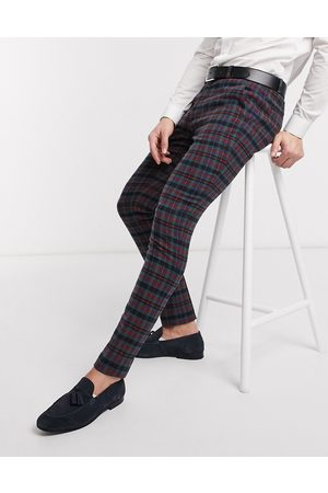 ASOS Muži Chino - Super skinny smart trousers in wool mix blue check