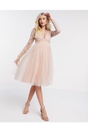 Rare Fashion Ženy Midi - London long sleeve tulle midi dress-Pink