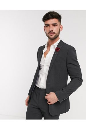 ASOS Wedding skinny suit jacket in charcoal four way stretch-Grey