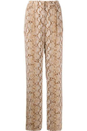 Michael Kors Snakeskin-print wide-leg trousers