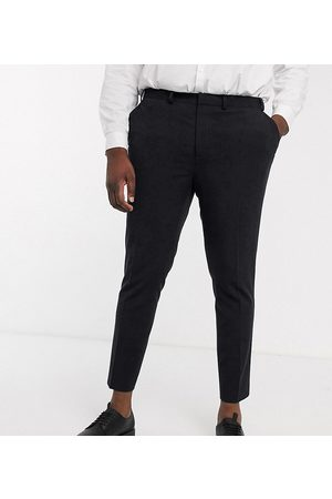 ASOS Plus super skinny cropped smart trousers in black