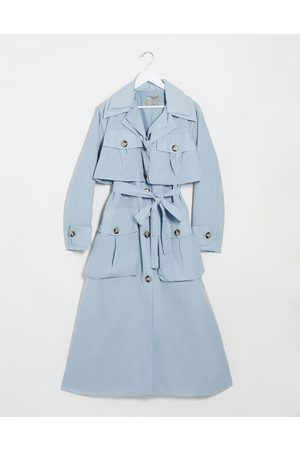 ASOS Layered utility taffeta trench coat in baby blue