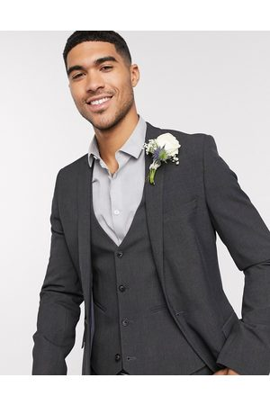 ASOS Wedding super skinny suit jacket in charcoal four way stretch-Grey