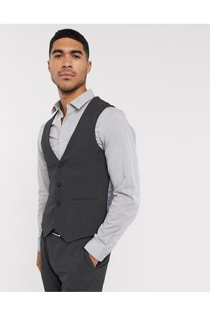 ASOS DESIGN Wedding super skinny suit waistcoat in charcoal four way stretch-Grey