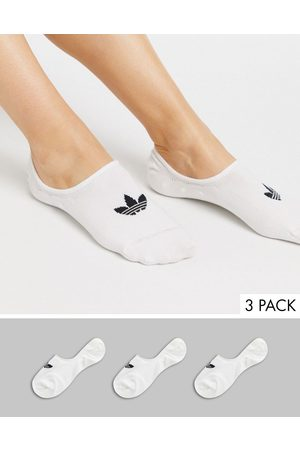 adidas 3 pack no show socks in white