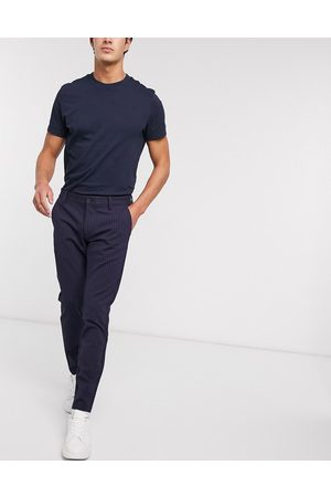 Only & Sons Stretch smart trouser in navy pinstripe
