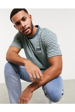 Nicce London Riva stripe t-shirt with small logo in blue