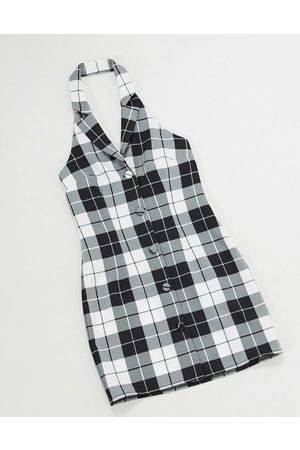 Vintage Supply 90's fitted dress in check-Black