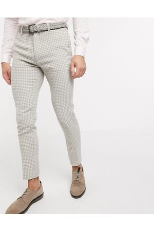 ASOS Wedding super skinny suit trousers in neutral wool blend houndstooth-Stone