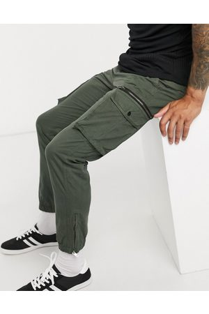 River Island Tapered cargo trousers in khaki-Stone