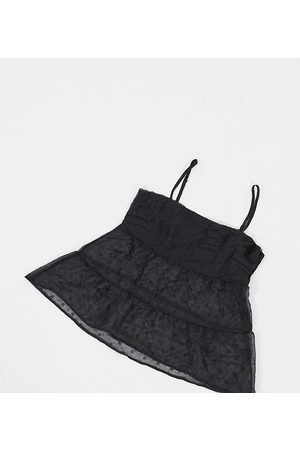 Missguided Chiffon cami top in black