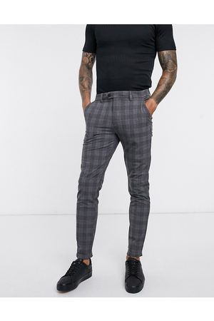 Jack & Jones Intelligence smart check trousers slim fit light grey-White