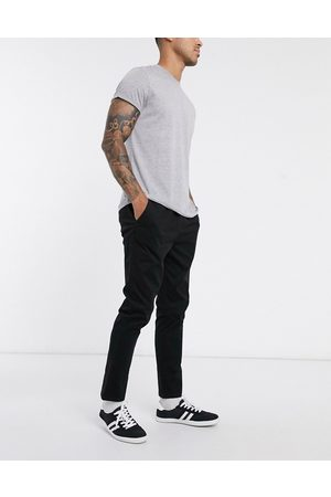 ASOS Slim chinos with elastic waist in black