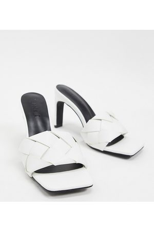 Z_Code_Z Exclusive Rae vegan plaited heeled mules in white