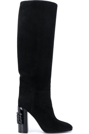 Casadei Chain link detail knee-high boots