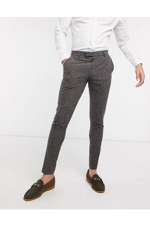 ASOS Muži Společenské - Wedding super skinny suit trousers in charcoal nepp texture-Grey