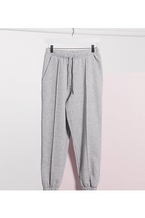 ASOS Ženy Tepláky - ASOS DESIGN Petite oversized jogger with pintuck in grey marl