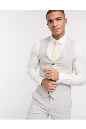 Harry Brown Muži Společenské vesty - Skinny fit plain suit waistcoat-Grey