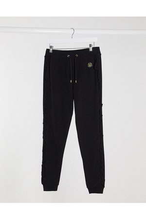 River Island Frill side co-ord jogger in black