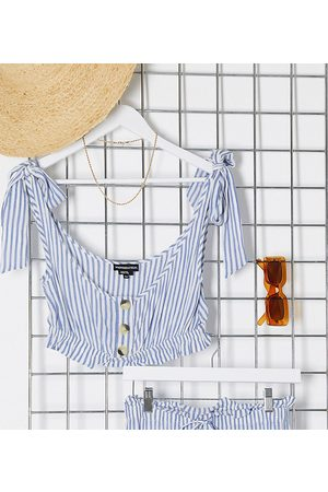 Wednesday's Girl Crop top with tie sleeves in stripe co-ord-White