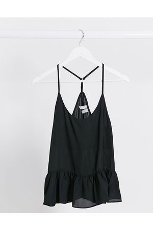 ASOS Cami with pep hem detail in black-No Colour