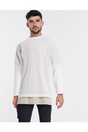 ASOS Oversized longline long sleeve t-shirt in white mesh with t-shirt underlayer-Beige