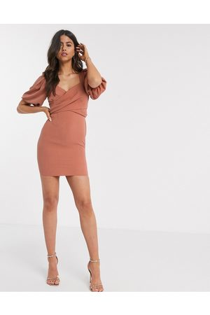 ASOS Ženy Na párty - Wrap front mini dress with puff sleeves in rust-Pink