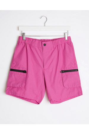 ASOS Slim nylon shorts with cargo pockets in hot pink