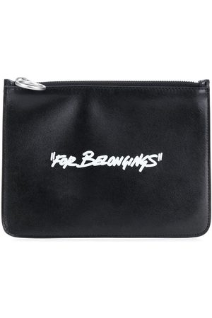 OFF-WHITE QUOTE FLAT POUCH BLACK WHITE
