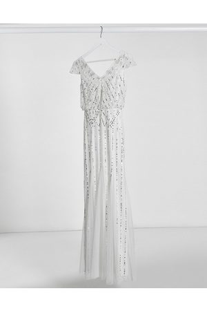 Frock and Frill Frock & Frill embellished v neck maxi dress in ivory-White