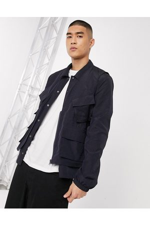 ASOS Muži Vesty - 2-in-1 harrington jacket with detachable utility gilet in navy