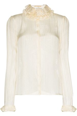 Saint Laurent Ruffle-collar striped blouse