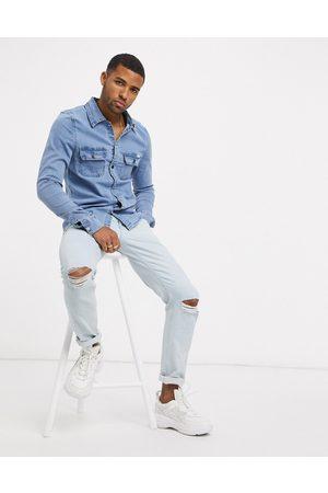 Liquor N Poker Muži Džínové košile - Muscle fit denim shirt in blue