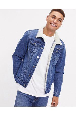 Liquor N Poker Denim jacket with borg collar in dark blue wash