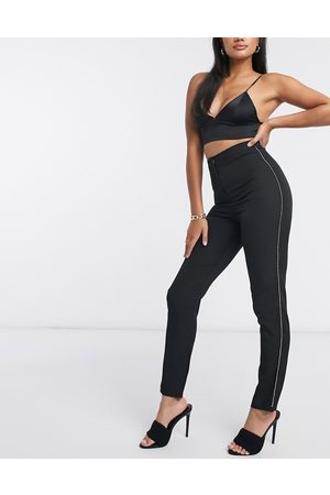 Club L Club L tailored skinny trouser with diamante detail in black