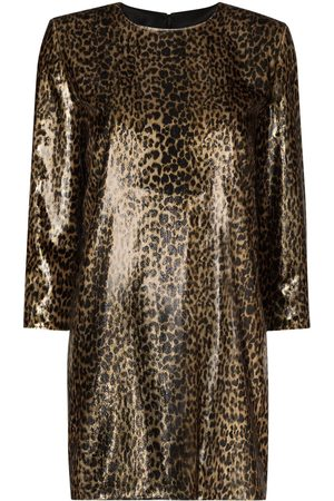 Saint Laurent Metallic leopard print mini dress