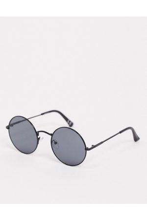 ASOS Muži Sluneční brýle - Round sunglasses in matte black with black lens